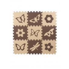 Мягкий пол универсальный Eco-Cover Бабочки-2 бежево-коричневые 33х33 см 9 мм 9 деталей