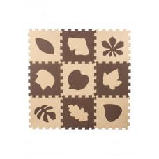 Мягкий пол универсальный Eco-Cover Листья-2 бежево-коричневые 33х33 см 9 мм 9 деталей