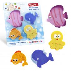 Набор игрушек для ванной мини-коврики VALIANT ПОДВОДНЫЙ МИР 4 шт MIX4S5